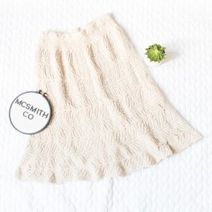 St. John Collection Cream Chunky Knit Flare Skirt